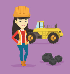 Miner with a big excavator on background vector