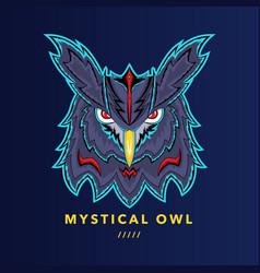 Mystical owl head detailed vector