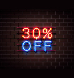 neon 30 off text banner night sign vector image