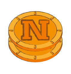Novacoin cryptocurrency stack icon vector