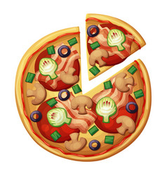 Pizza top view muchrooms artichokes olives vector
