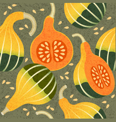 pumpkins seamless pattern whole cut harvest vector image