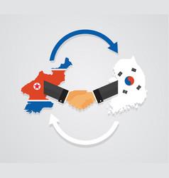 Representatives of the south and north korea shake vector