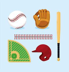Set baseball professional equipment to game vector