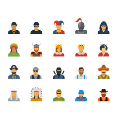 Set different characters avatars vector