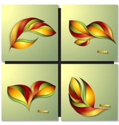 Set of abstract autumn different color leaves vector