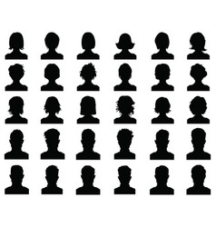 Silhouettes avatar profile icons vector