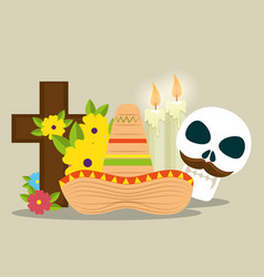 skull with cross and candles to celebrate day of vector image