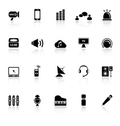 Sound icons with reflect on white background vector image