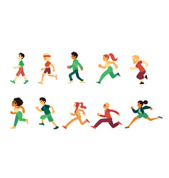 sport people young adult senior running set vector image