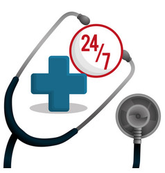 Stethoscope medical equipment service 24-7 vector