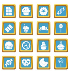 sweets candy cakes icons set sapphirine square vector image