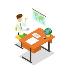teacher teaching geography isometric 3d icon vector image