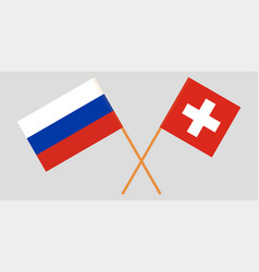 The crossed russia and switzerland flags vector