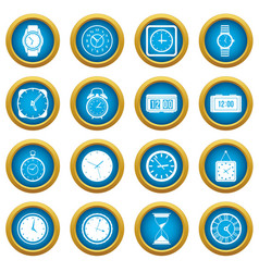 time and clock icons blue circle set vector image