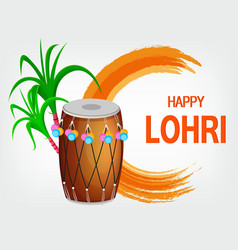 Traditional decorated drum and sugarcane vector