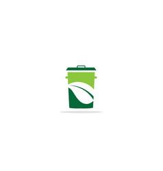 trash bin eco leaf logo vector image
