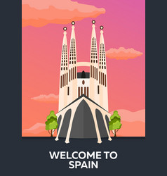 travel poster to spain skyline flat vector image