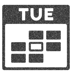 Tuesday Calendar Grid Grainy Texture Icon vector