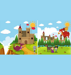 Two background scenes with dragon and knight vector