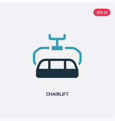 Two color chairlift icon from transportation vector