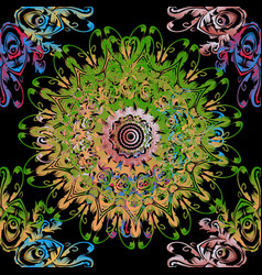 vintage floral baroque seamless mandala pattern vector image