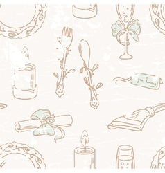 Vintage hand drawn wedding table decoration vector image