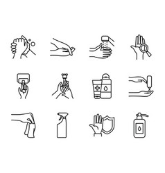water and hand hygiene icon set line style vector image
