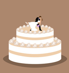 wedding cake with bride and groom figurine vector image