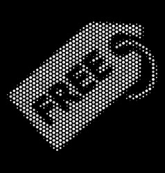 White pixelated free tag icon vector