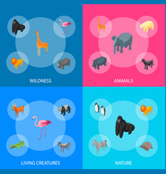 wild animals 3d banner set isometric view vector image