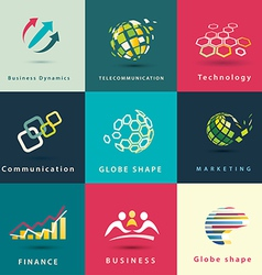 abstract business and technology icons set vector image vector image