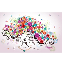 Beautiful Woman with Flowers vector image