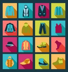 icons set of Fashion elements man clothing vector image