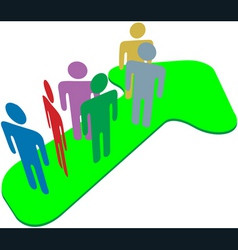 people team on symbol arrow to progress success vector image vector image
