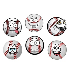 Smiling baseball balls cartoon characters vector image