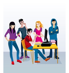 Students with Computer vector image