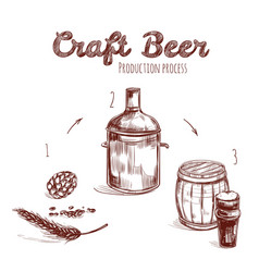 brewing process hand drawn concept vector image vector image