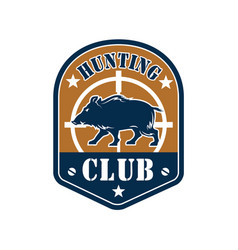 hunting club shield badge with wild boar vector image vector image