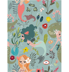 seamless pattern with cartoon mermaids and flowers vector image