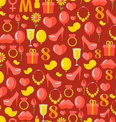 8 March seamless pattern Background of gifts for vector image vector image