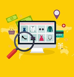 Set of flat design concept online shopping and vector image vector image