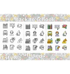 Set of Icon Back to School Flat Style vector image