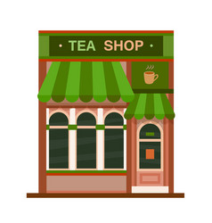 tea shop front view flat icon vector image