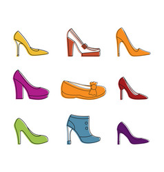 woman shoes icon set color outline style vector image