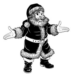 black and white christmas santa claus vector image vector image