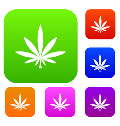 cannabis leaf set collection vector image