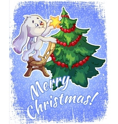Christmas card with a hare and a Christmas tree vector image