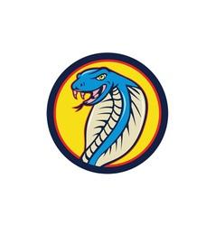 Cobra Viper Snake Head Attacking Circle Cartoon vector image vector image