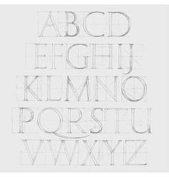 Font Antiqua Hand drawn construction sketch vector image